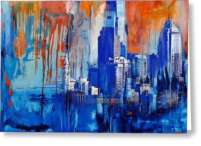Philadelphia Skyline 227 1 Greeting Card by Mawra Tahreem