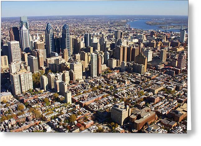 Philadelphia Skyline Aerial Graduate Hospital Rittenhouse Square Cityscape Greeting Card by Duncan Pearson