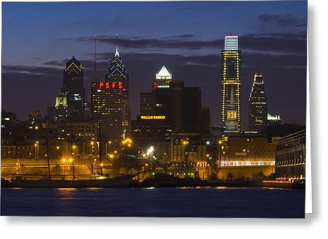 Philadelphia Greeting Cards - Philadelphia Skyline at night Greeting Card by Brendan Reals