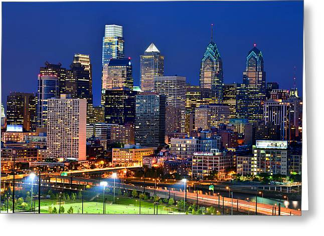Skyscraper Greeting Cards - Philadelphia Skyline at Night Greeting Card by Jon Holiday
