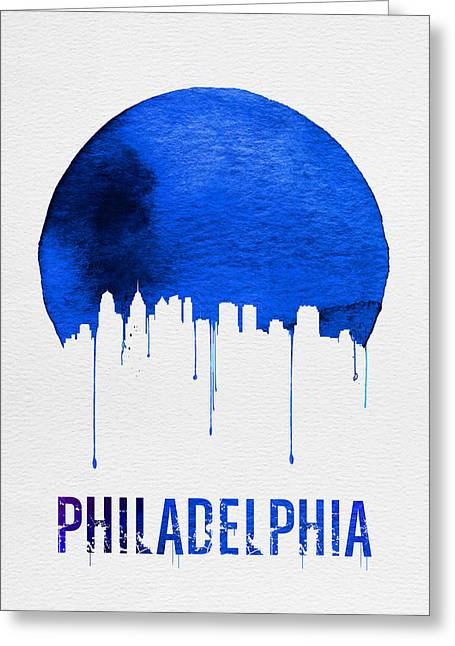 Philadelphia Skyline Blue Greeting Card by Naxart Studio