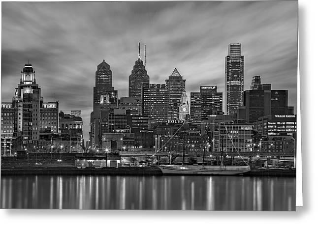 Liberty Place Greeting Cards - Philadelphia Skyline BW Greeting Card by Susan Candelario