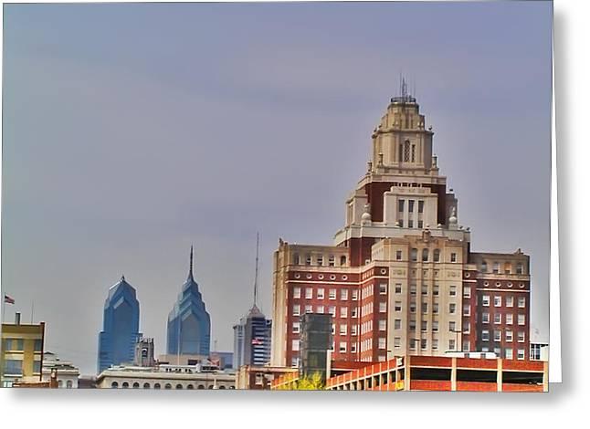 Philadelphia Digital Greeting Cards - Philadelphia Skyline from Camden Waterfront Greeting Card by Bill Cannon