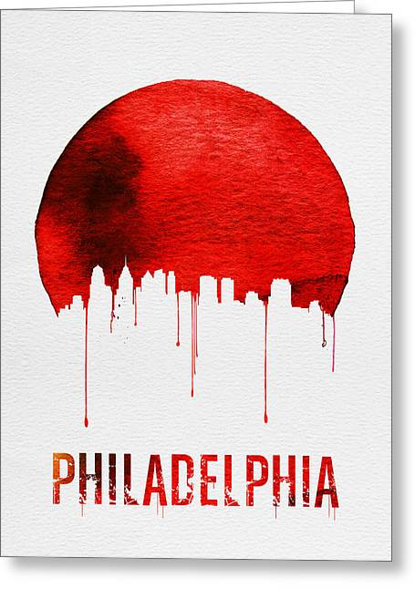Philadelphia Skyline Redskyline Red Greeting Card by Naxart Studio