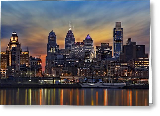 Liberty Place Greeting Cards - Philadelphia Skyline Greeting Card by Susan Candelario