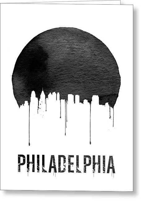 Philadelphia Skyline White Greeting Card by Naxart Studio
