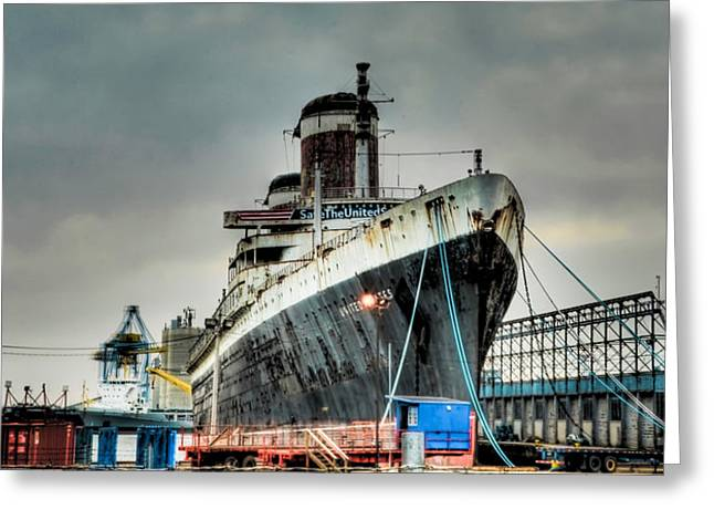 Greeting Cards - Philadelphia - SS United States Greeting Card by Bill Cannon