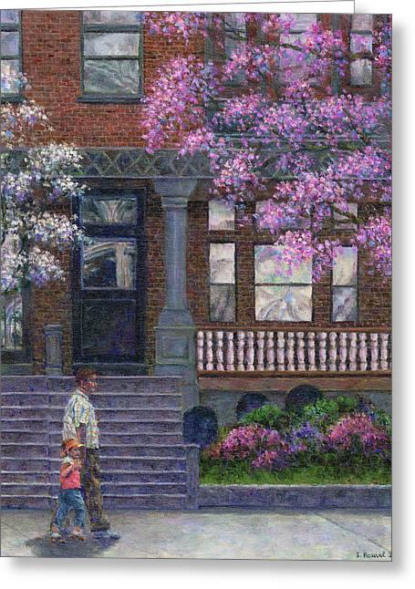 Suburban Greeting Cards - Philadelphia Street in Spring Greeting Card by Susan Savad