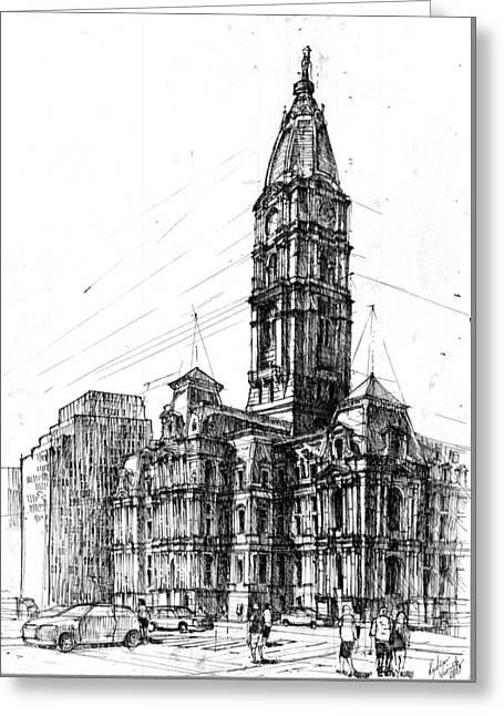 Philadelphia Town Hall Greeting Card by Krystian  Wozniak