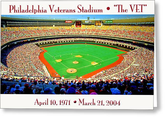Veterans Stadium Photographs Greeting Cards - Philadelphia Veterans Stadium The Vet Greeting Card by A Gurmankin