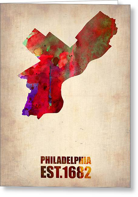 State Map Greeting Cards - Philadelphia Watercolor Map Greeting Card by Naxart Studio