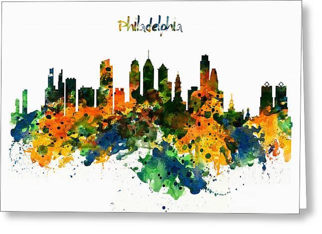 Philadelphia Greeting Cards - Philadelphia Watercolor Skyline Greeting Card by Marian Voicu