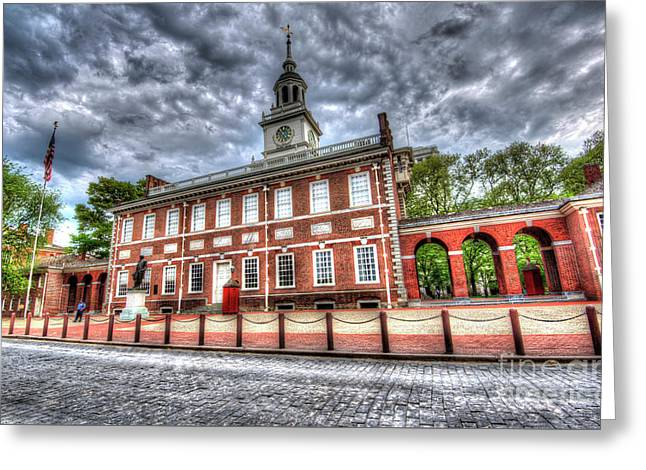 Philadelphia's Independence Hall Under The Clouds Greeting Card by Mark Ayzenberg