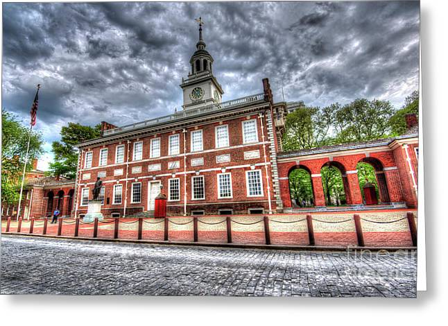 Williams Dam Greeting Cards - Philadelphias Independence Hall Under the Clouds Greeting Card by Mark Ayzenberg