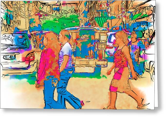 Asia Mixed Media Greeting Cards - Philippine Girls Crossing Street Greeting Card by Rolf Bertram