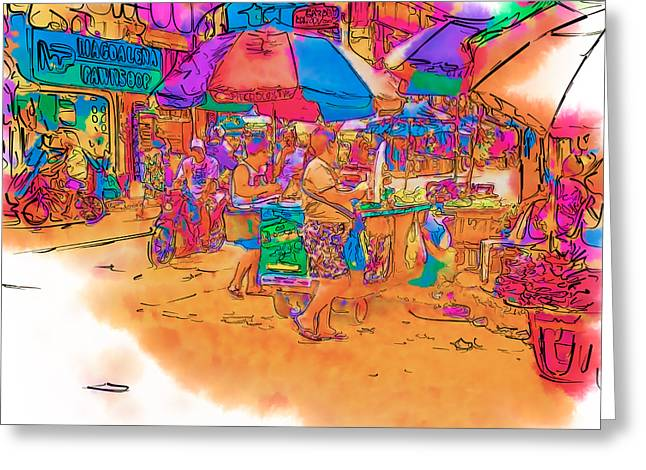 Asia Mixed Media Greeting Cards - Philippine Open Air Market Greeting Card by Rolf Bertram