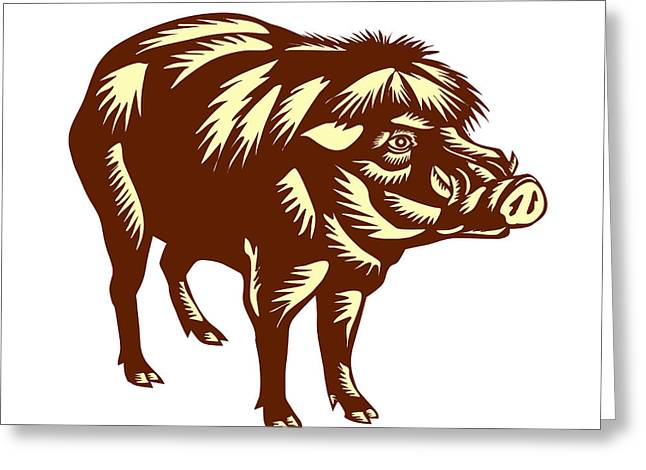 Philippine Warty Pig Woodcut Greeting Card by Aloysius Patrimonio