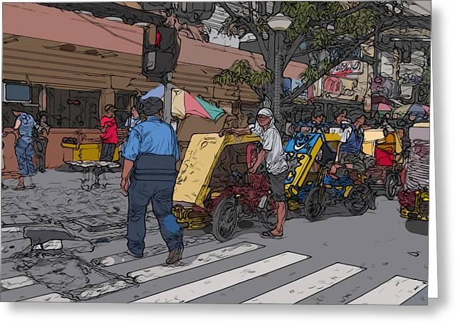 Best Sellers -  - Crosswalk Greeting Cards - Philippines 906 Crosswalk Greeting Card by Rolf Bertram
