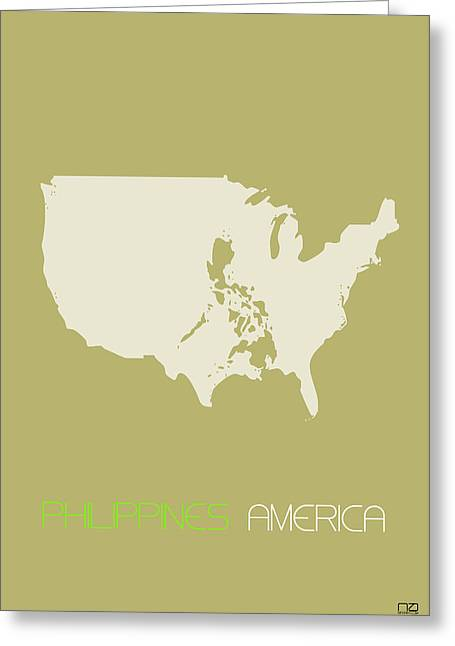 Green White Greeting Cards - Philippines America Poster Greeting Card by Naxart Studio