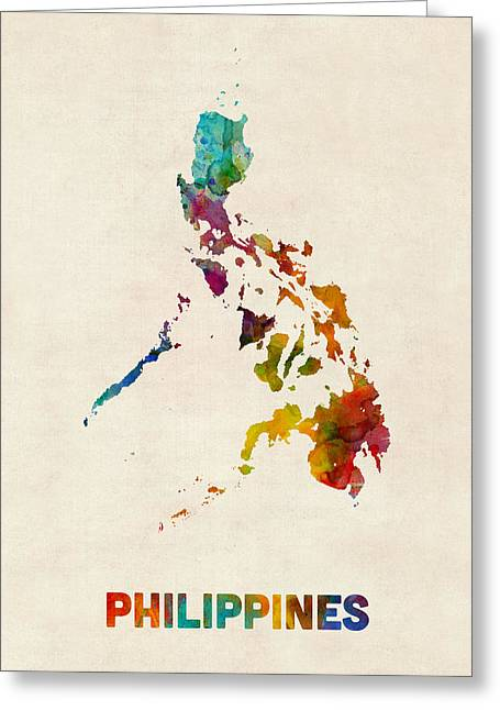 Philippines Greeting Cards - Philippines Watercolor Map Greeting Card by Michael Tompsett