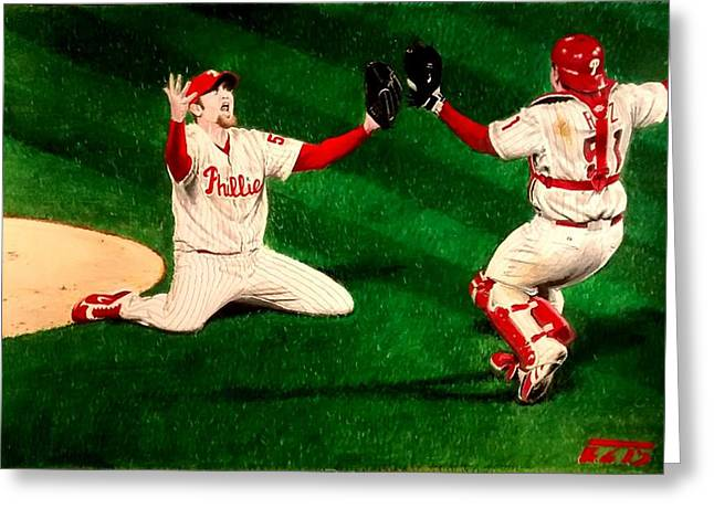 Phillies Win The World Series Greeting Card by Ezra Strayer