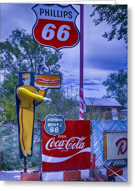 Hotdogs Greeting Cards - Phillips 66 Sign Greeting Card by Garry Gay