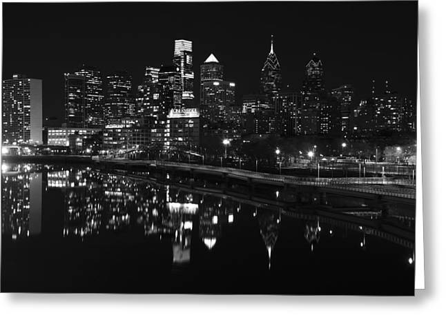 Schuylkill Greeting Cards - Philly and the Schuylkill bw Greeting Card by Jennifer Lyon