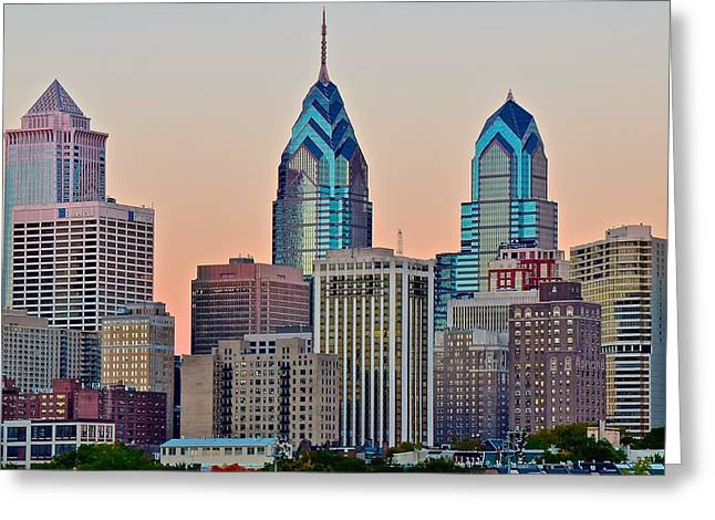 Philly At Sunset Greeting Card by Frozen in Time Fine Art Photography