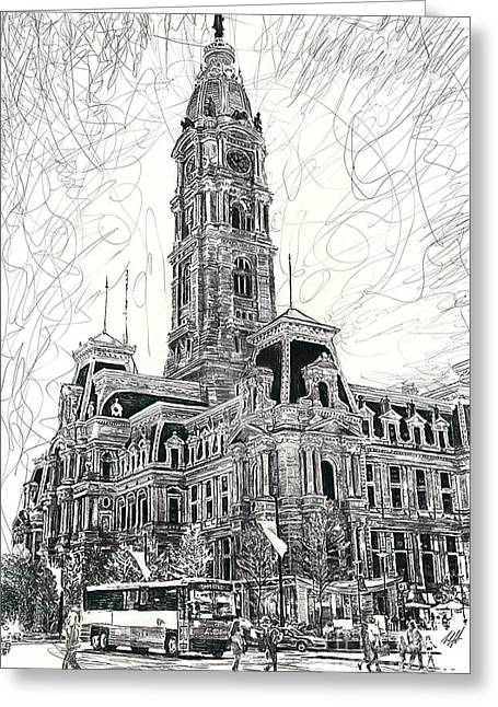 City Hall Drawings Greeting Cards - Philly City Hall Greeting Card by Michael  Volpicelli