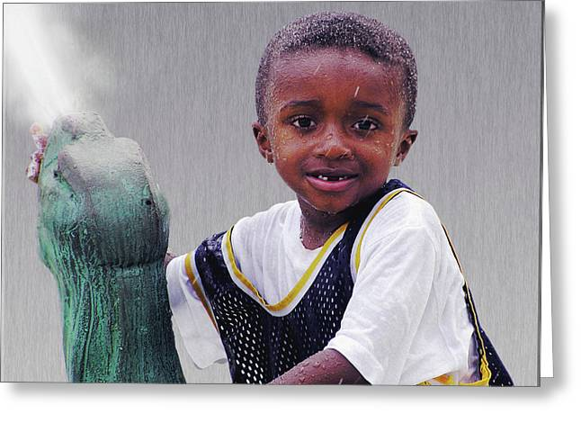 Missing Teeth Greeting Cards - Philly Fountain Kid Greeting Card by Brian Wallace