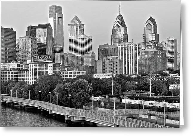 Philly Gray And White Greeting Card by Frozen in Time Fine Art Photography