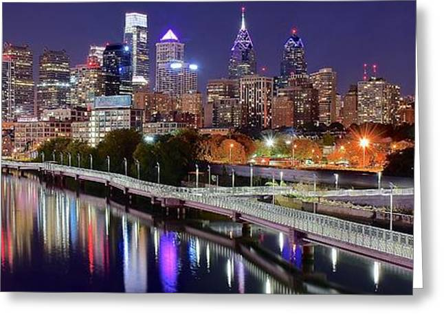 Philly In Panoramic View Greeting Card by Frozen in Time Fine Art Photography