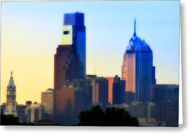 Philadelphia Digital Greeting Cards - Philly Morning Greeting Card by Bill Cannon