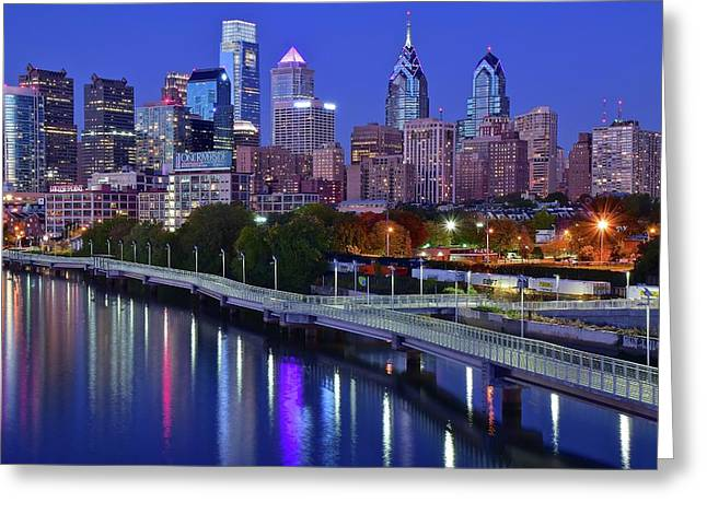 Philly Nightscape Greeting Card by Frozen in Time Fine Art Photography