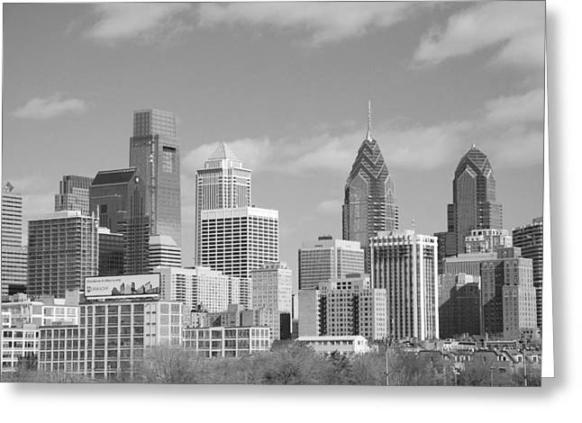 Philly Photographs Greeting Cards - Philly skyscrapers black and white Greeting Card by Jennifer Lyon