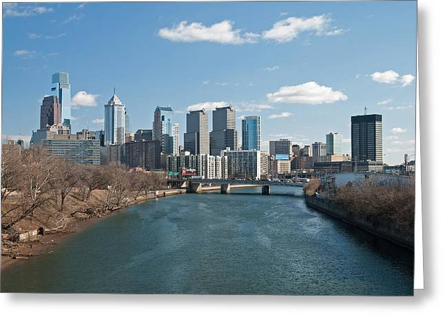 Philadelphia Skyline Greeting Cards - Philly winter Greeting Card by Jennifer Lyon