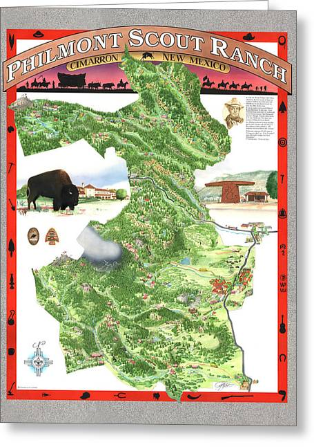 Sangre De Cristo Greeting Cards - Philmont Scout Ranch Poster Art Greeting Card by Philippe Plouchart