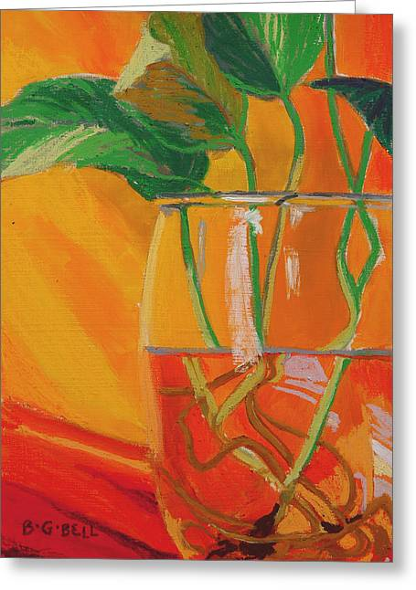 Philodendron Greeting Cards - Philodendron in Glass Greeting Card by Betsy Gray Bell
