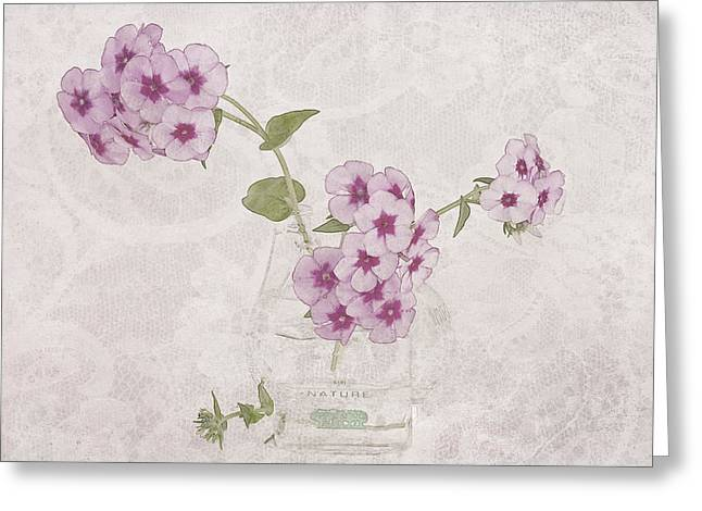 Interior Still Life Greeting Cards - Phlox, Perfume And Lace Greeting Card by Sandra Foster