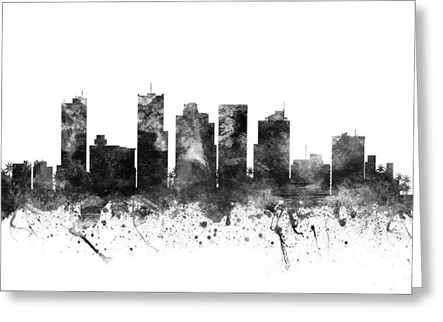 Grunge Drawings Greeting Cards - Phoenix Arizona Cityscape 02BW Greeting Card by Aged Pixel