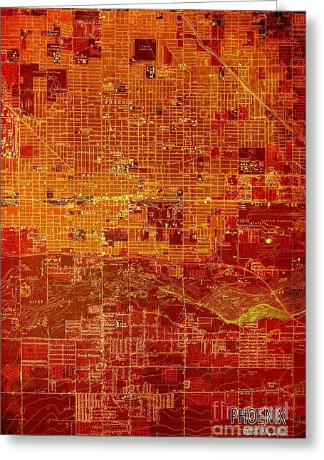Phoenix Arizona Red Map Greeting Card by Pablo Franchi