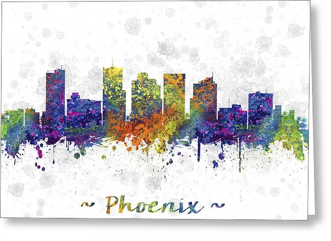 University Of Arizona Drawings Greeting Cards - Phoenix Arizona Skyline Color 03SQ Greeting Card by Aged Pixel