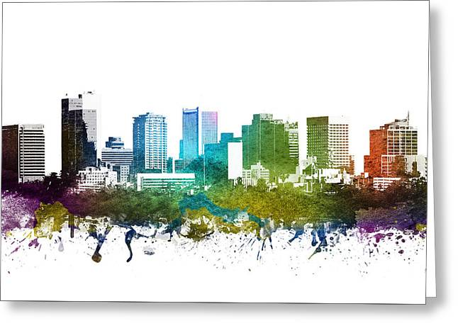 Rainbows Drawings Greeting Cards - Phoenix Cityscape 01 Greeting Card by Aged Pixel