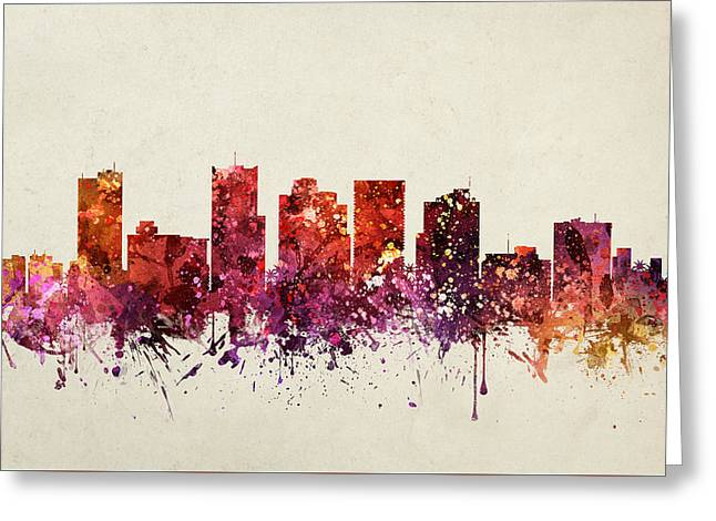 University Of Arizona Drawings Greeting Cards - Phoenix Cityscape 09 Greeting Card by Aged Pixel