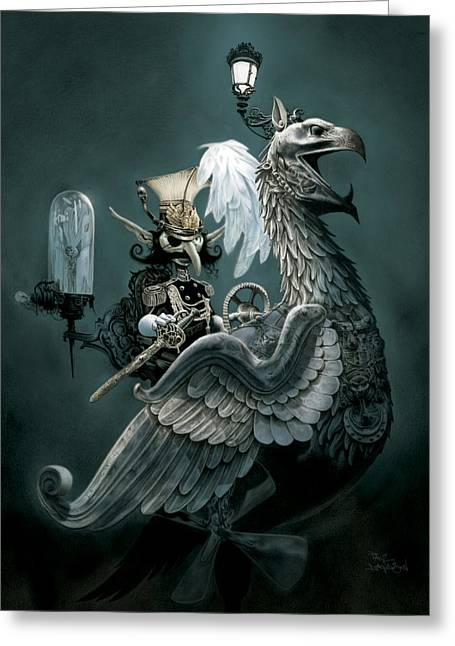 Steampunk Greeting Cards - Phoenix Goblineer Greeting Card by Paul Davidson