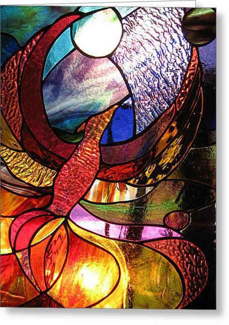 Fire Glass Greeting Cards - Phoenix  Greeting Card by Karen Dawson
