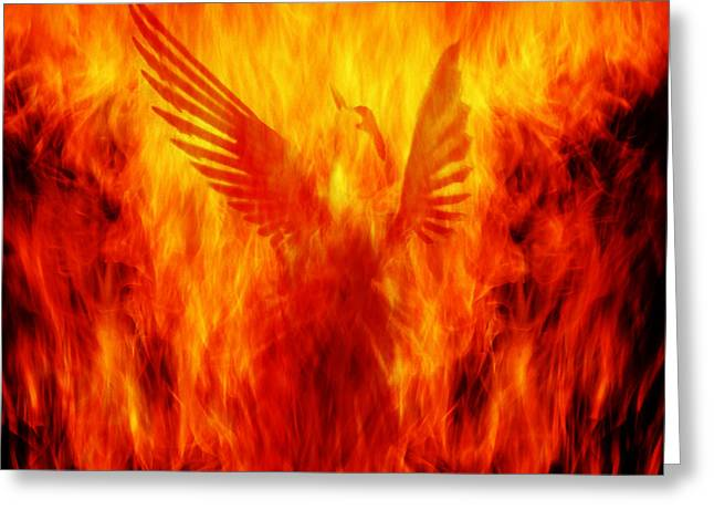 Phoenix Rising Greeting Card by Andrew Paranavitana