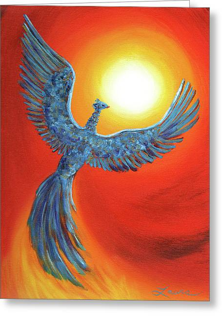 Flames Paintings Greeting Cards - Phoenix Rising Greeting Card by Laura Iverson
