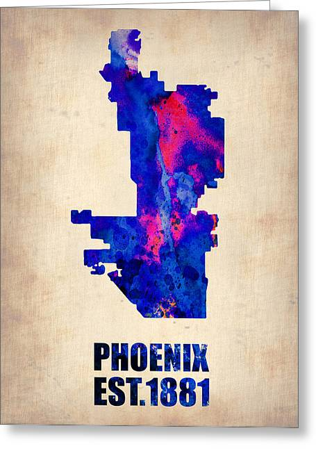 Global Cities Greeting Cards - Phoenix Watercolor Map Greeting Card by Naxart Studio