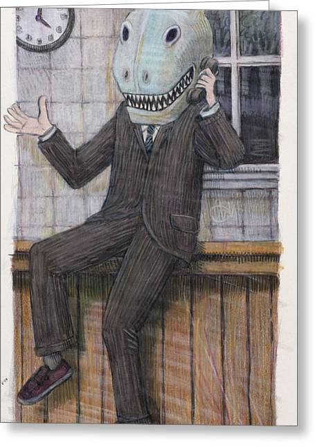 Talking Fish Greeting Cards - Phone Call Greeting Card by Clifford Elgin
